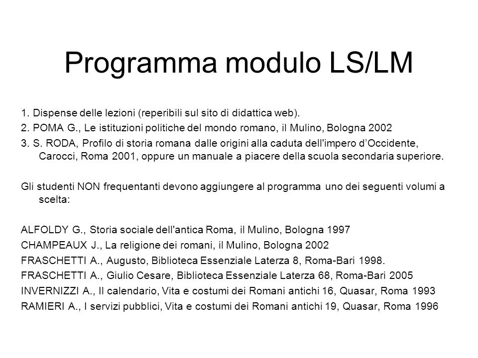 Programma modulo LS/LM