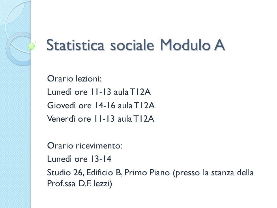 Statistica sociale Modulo A