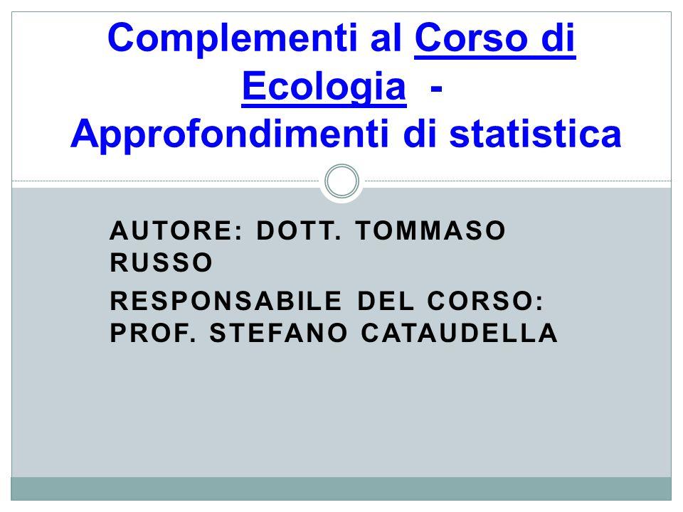 Complementi al Corso di Ecologia - Approfondimenti di statistica