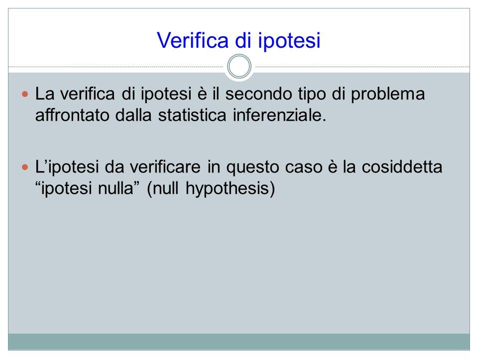 Verifica di ipotesi La verifica di ipotesi è il secondo tipo di problema affrontato dalla statistica inferenziale.