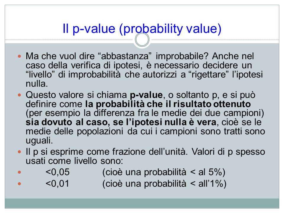 Il p-value (probability value)