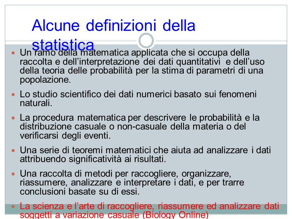 Alcune definizioni della statistica