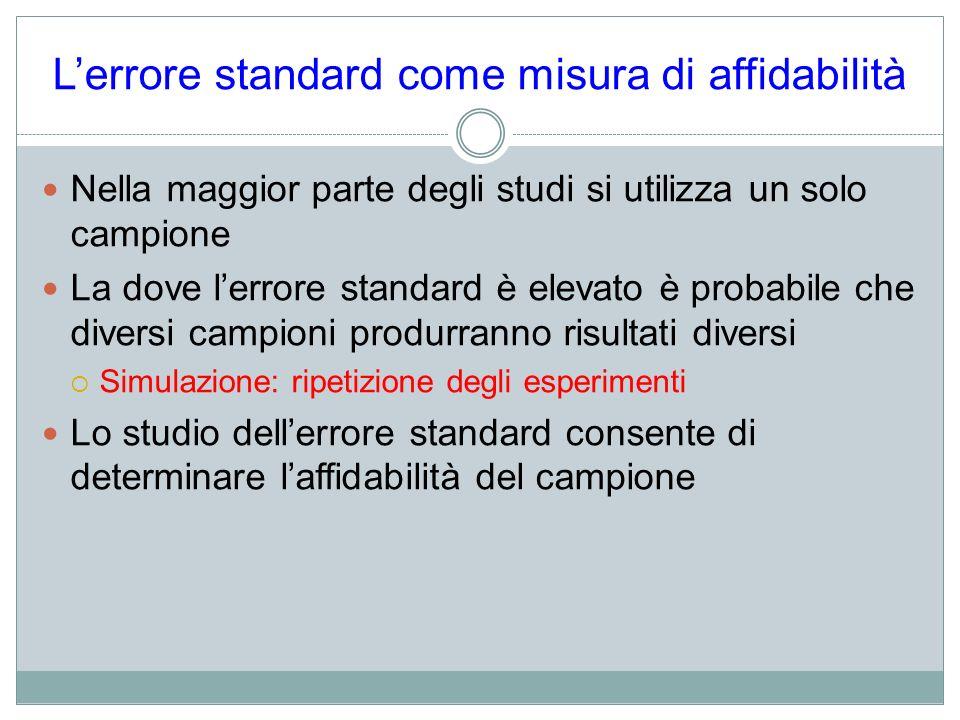 L'errore standard come misura di affidabilità