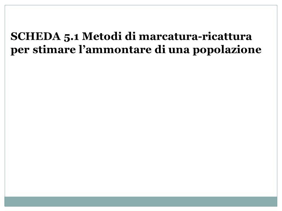 SCHEDA 5.1 Metodi di marcatura-ricattura per stimare l'ammontare di una popolazione
