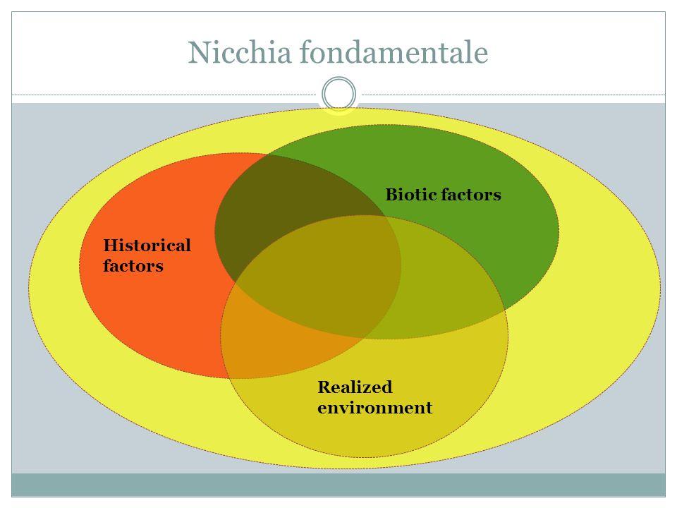 Nicchia fondamentale Biotic factors Historical factors Realized