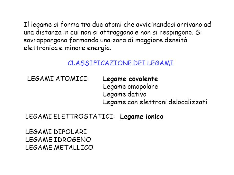 CLASSIFICAZIONE DEI LEGAMI