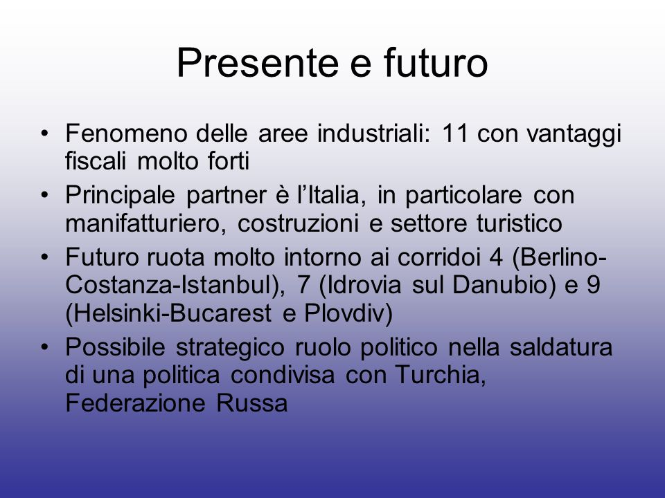 Presente e futuro Fenomeno delle aree industriali: 11 con vantaggi fiscali molto forti.