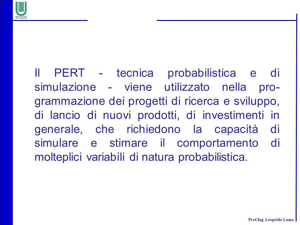 Il PERT - tecnica probabilistica e di simulazione - viene utilizzato nella pro-grammazione dei progetti di ricerca e sviluppo, di lancio di nuovi prodotti, di investimenti in generale, che richiedono la capacità di simulare e stimare il comportamento di molteplici variabili di natura probabilistica.