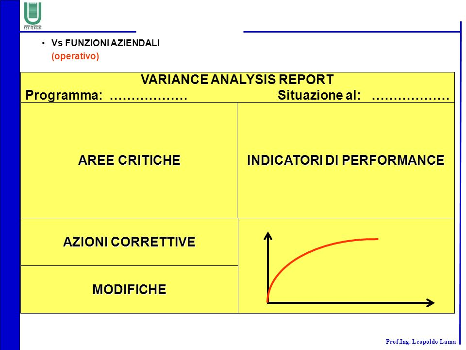 VARIANCE ANALYSIS REPORT Programma: ……………… Situazione al: ………………