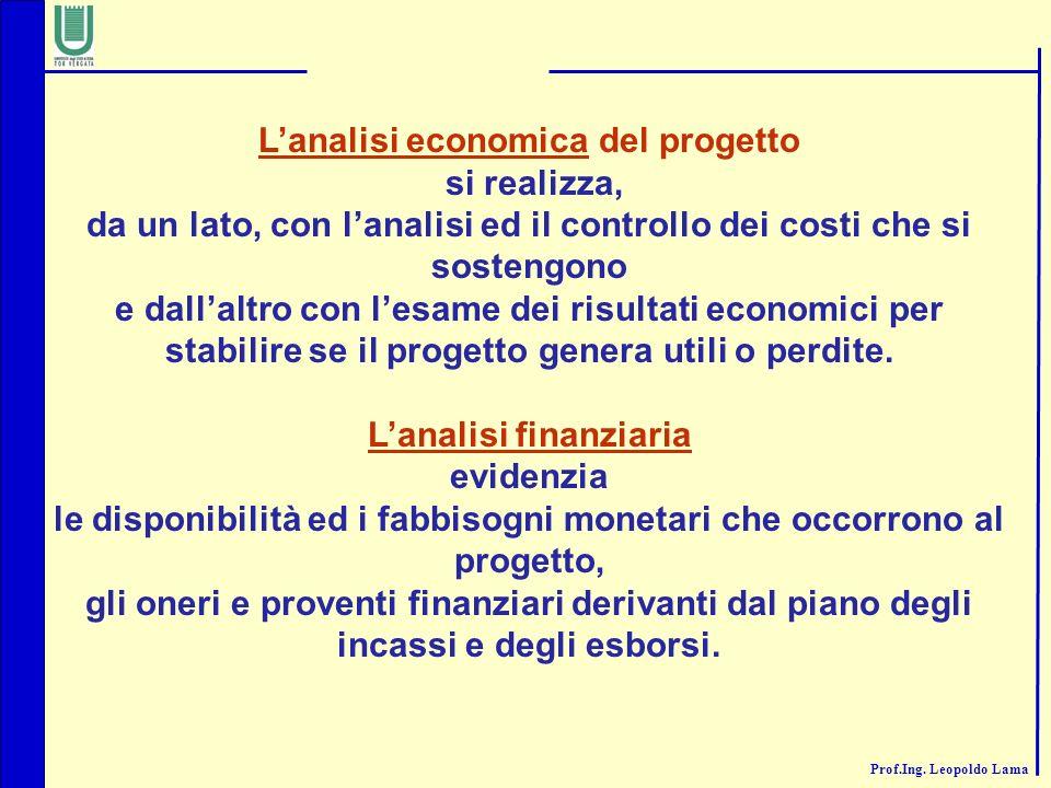L'analisi economica del progetto si realizza,