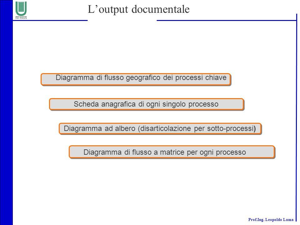 L'output documentale Diagramma di flusso geografico dei processi chiave. Scheda anagrafica di ogni singolo processo.