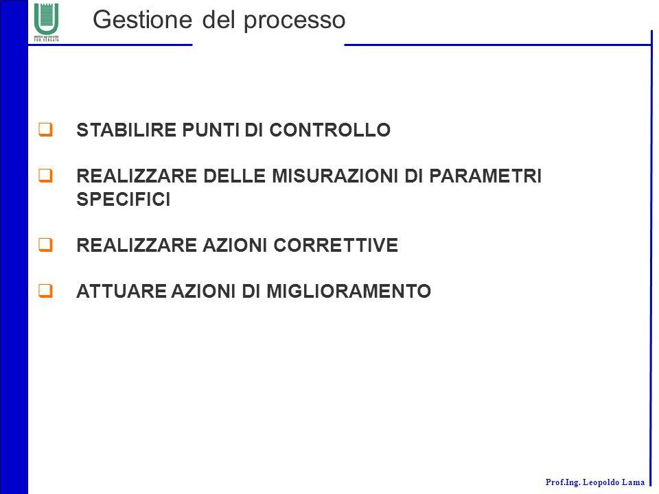 Gestione del processo STABILIRE PUNTI DI CONTROLLO