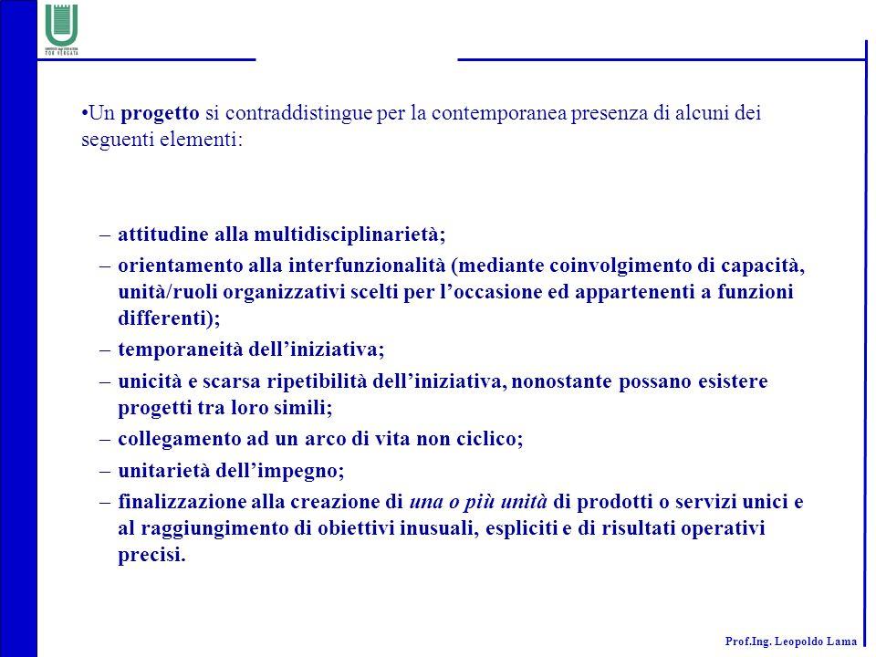 Un progetto si contraddistingue per la contemporanea presenza di alcuni dei seguenti elementi:
