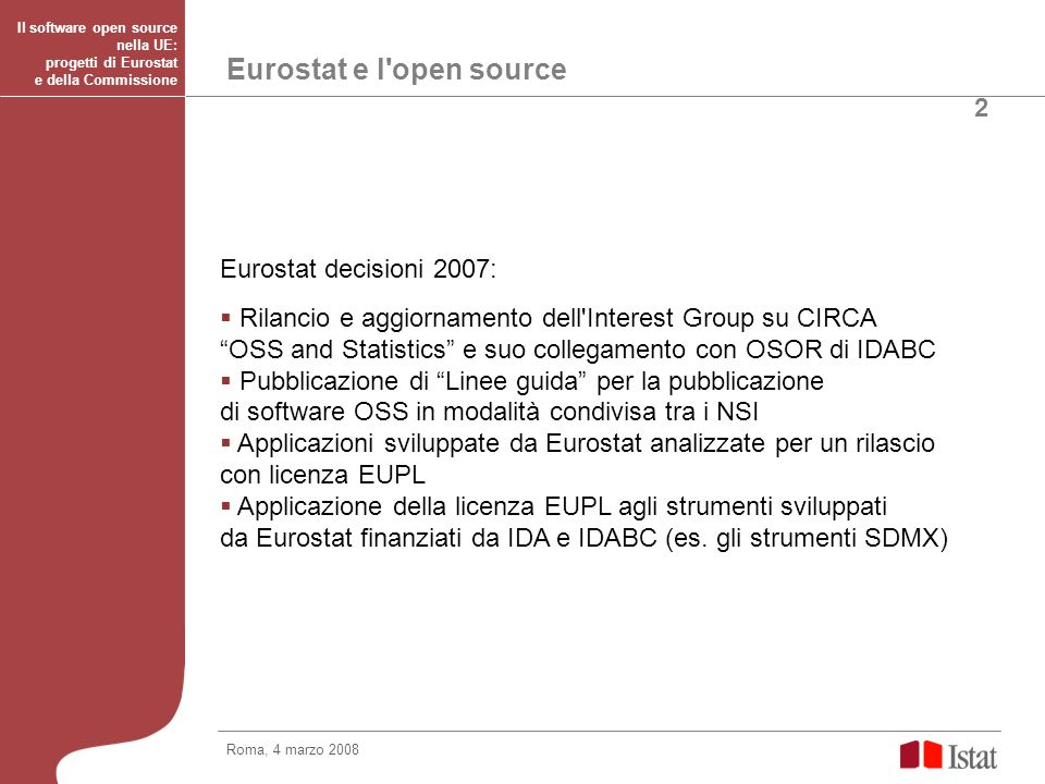 Eurostat e l open source