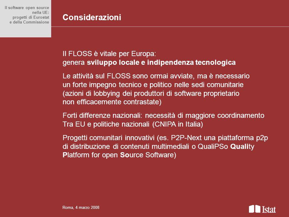 Considerazioni Il FLOSS è vitale per Europa: