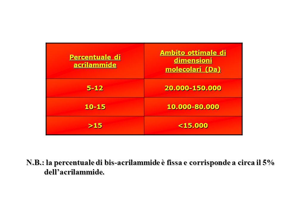 Percentuale di acrilammide Ambito ottimale di dimensioni