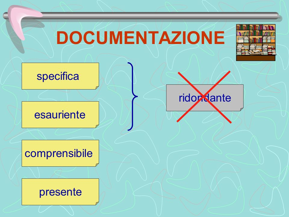 DOCUMENTAZIONE specifica ridondante esauriente comprensibile presente