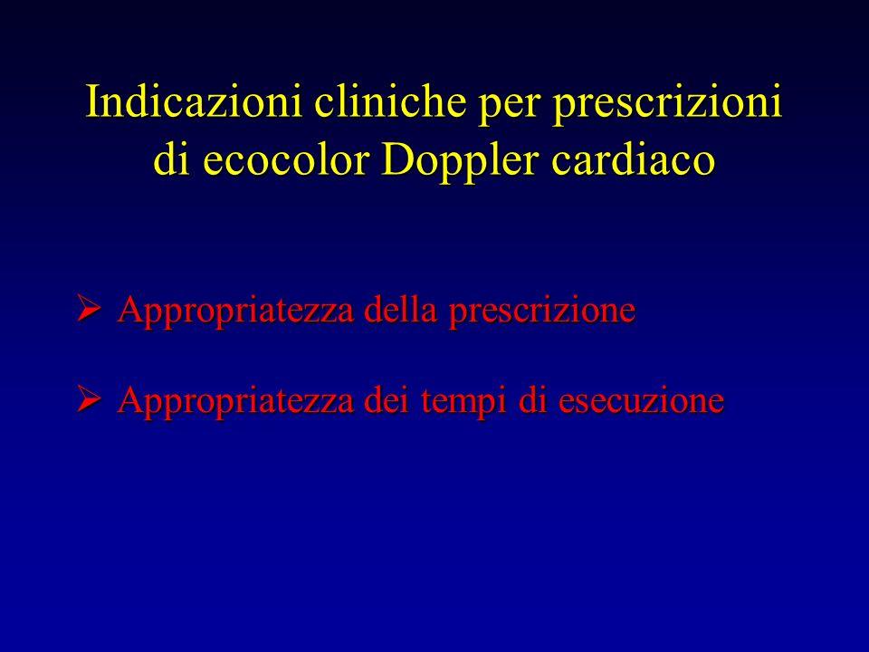 Indicazioni cliniche per prescrizioni di ecocolor Doppler cardiaco