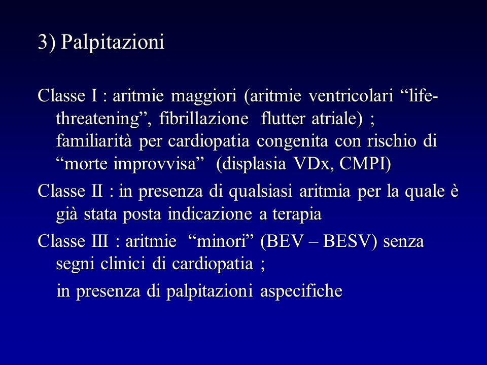 3) Palpitazioni