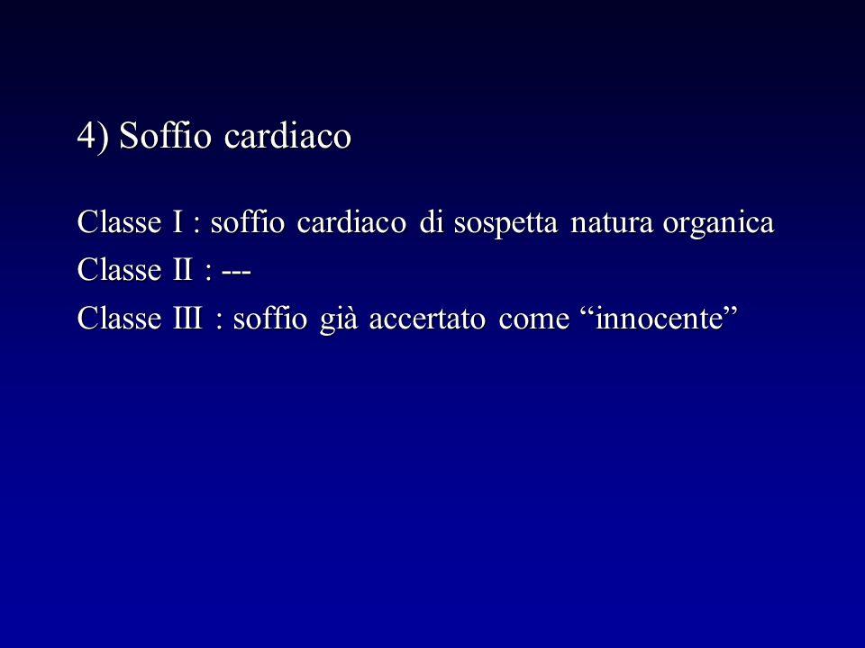4) Soffio cardiaco Classe I : soffio cardiaco di sospetta natura organica.