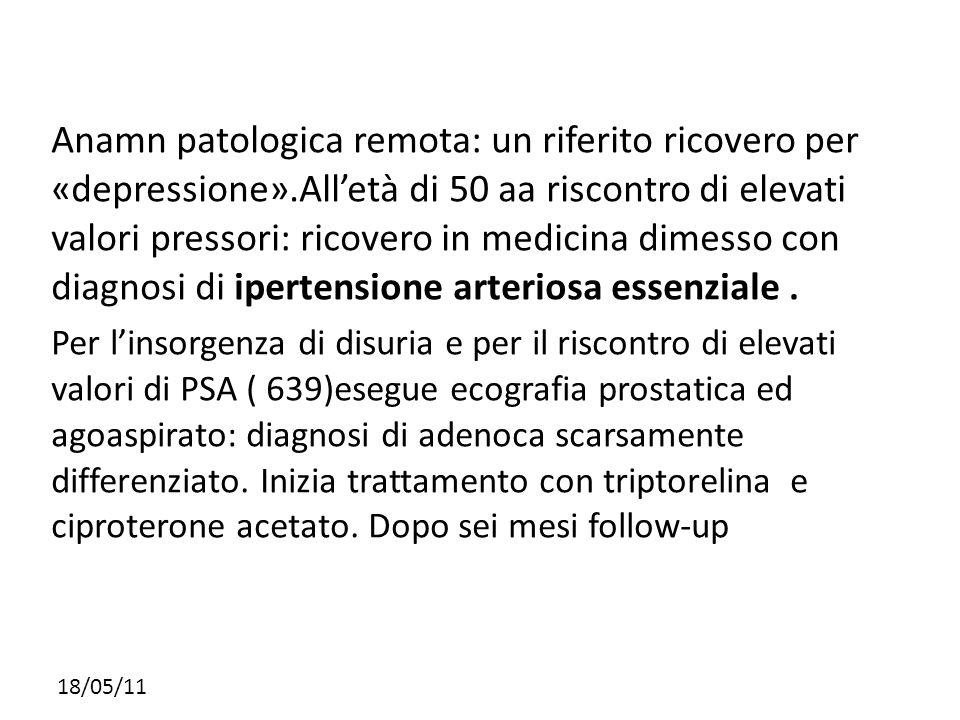Anamn patologica remota: un riferito ricovero per «depressione»