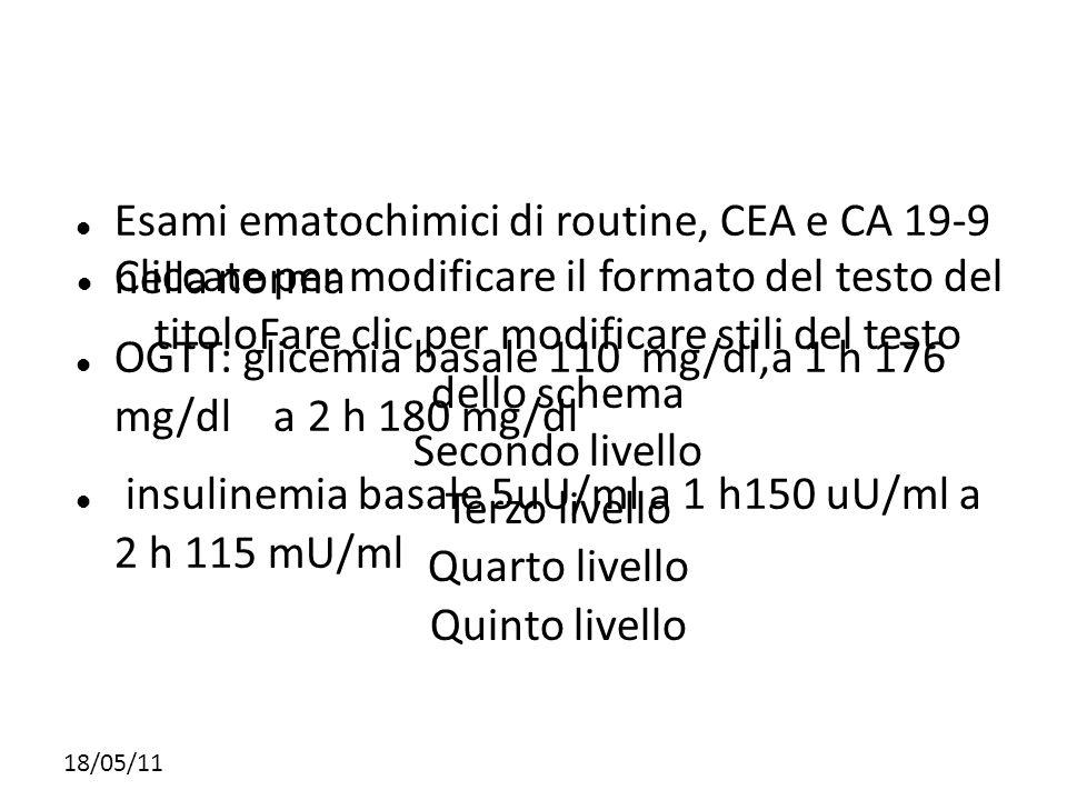 Esami ematochimici di routine, CEA e CA 19-9 nella norma