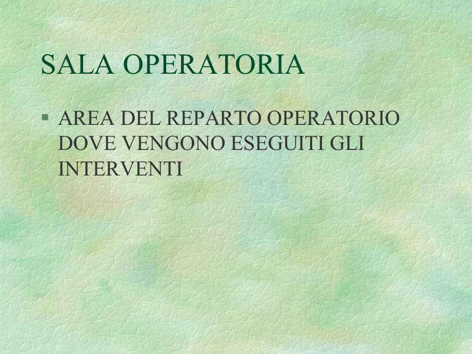 SALA OPERATORIA AREA DEL REPARTO OPERATORIO DOVE VENGONO ESEGUITI GLI INTERVENTI