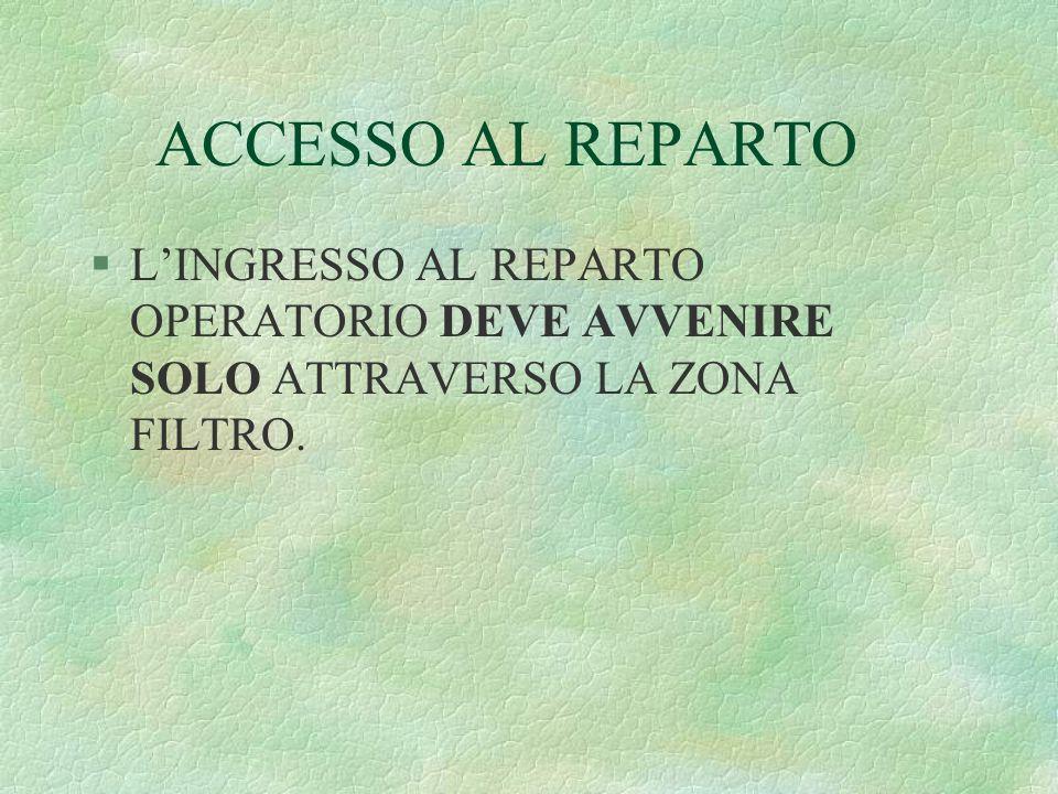 ACCESSO AL REPARTO L'INGRESSO AL REPARTO OPERATORIO DEVE AVVENIRE SOLO ATTRAVERSO LA ZONA FILTRO.