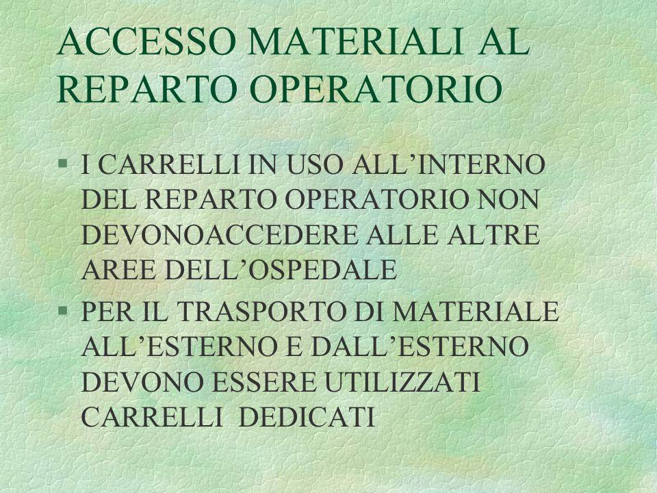 ACCESSO MATERIALI AL REPARTO OPERATORIO
