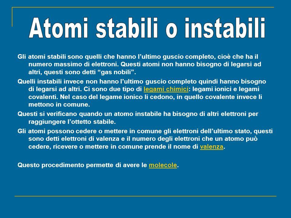 Atomi stabili o instabili
