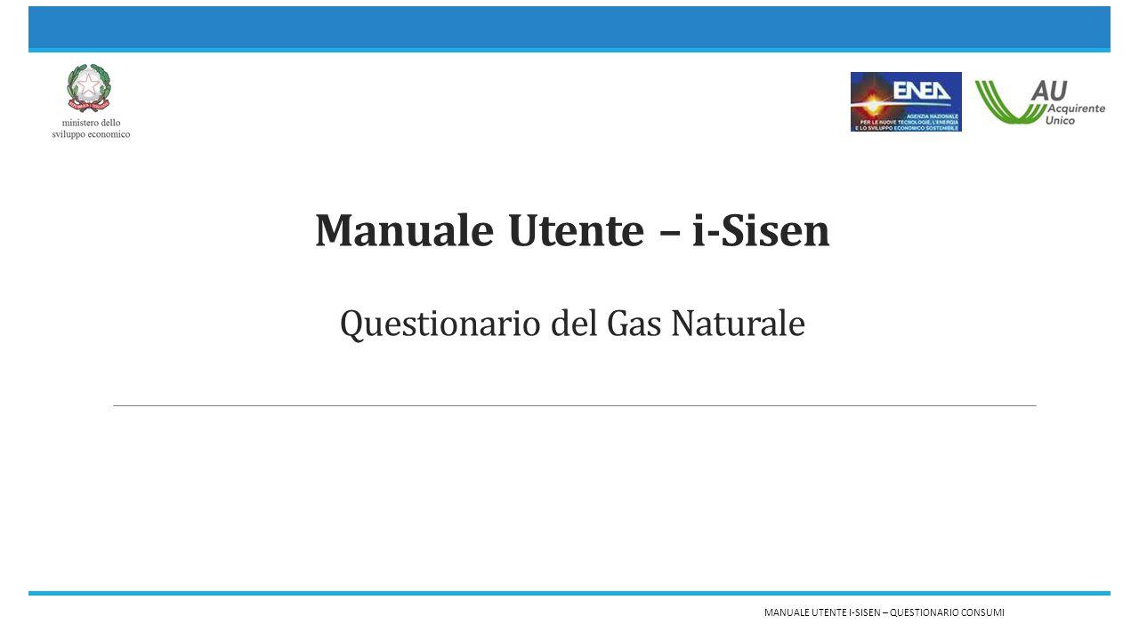 Manuale Utente – i-Sisen Questionario del Gas Naturale