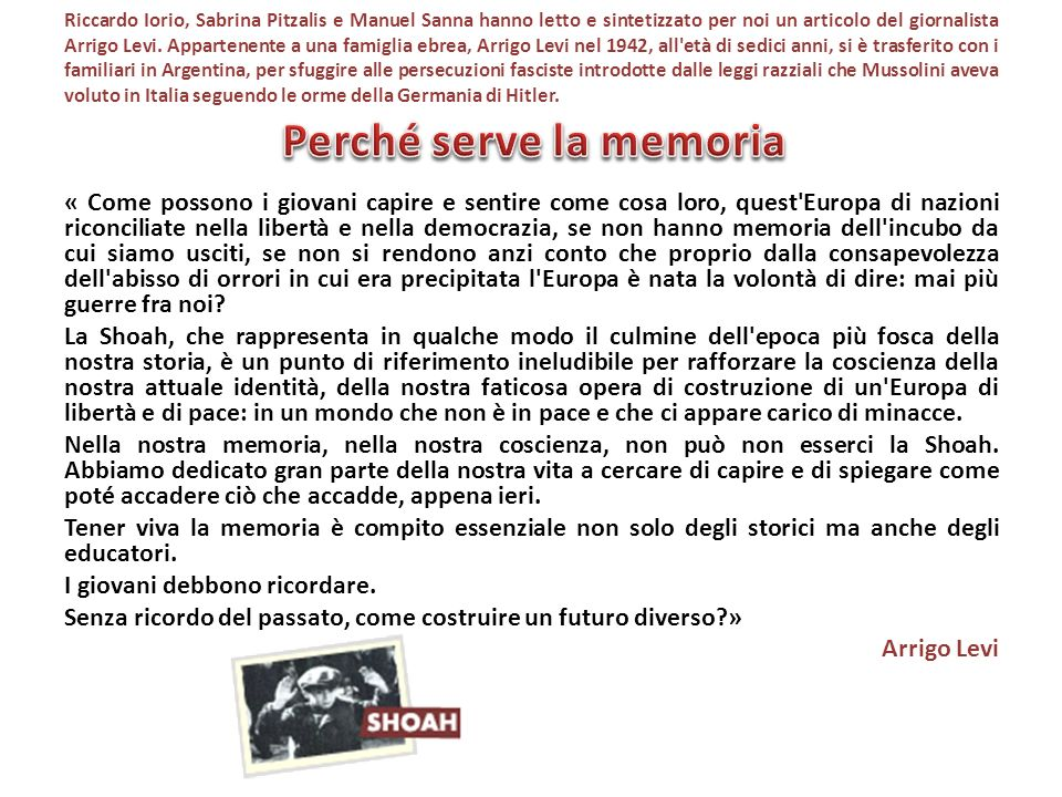 Perché serve la memoria