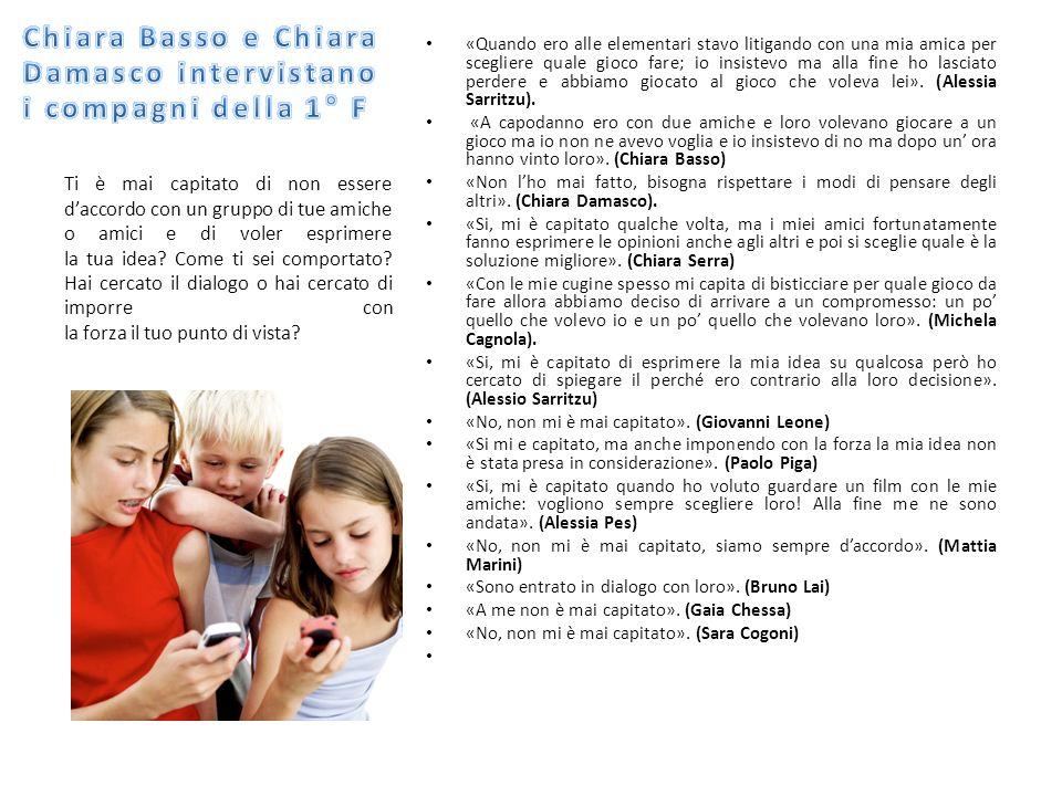 Chiara Basso e Chiara Damasco intervistano i compagni della 1° F
