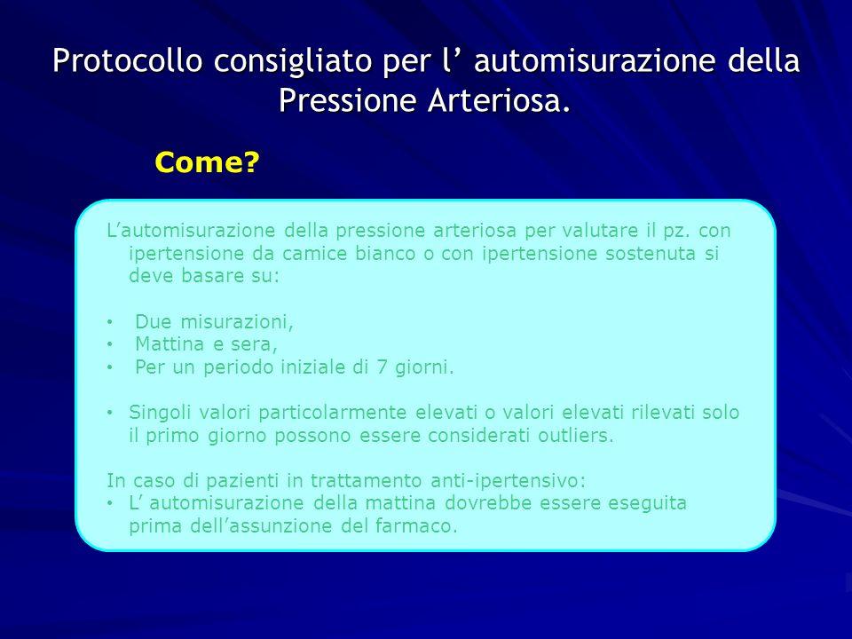 Protocollo consigliato per l' automisurazione della Pressione Arteriosa.