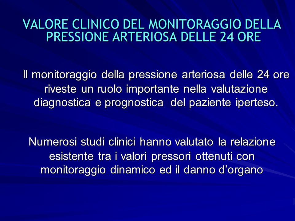 VALORE CLINICO DEL MONITORAGGIO DELLA PRESSIONE ARTERIOSA DELLE 24 ORE