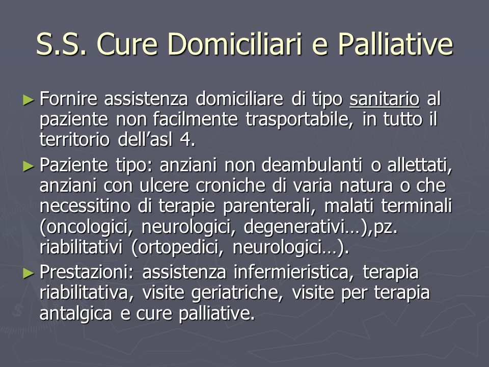 S.S. Cure Domiciliari e Palliative