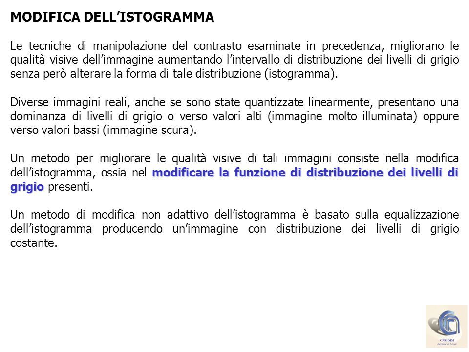 MODIFICA DELL'ISTOGRAMMA