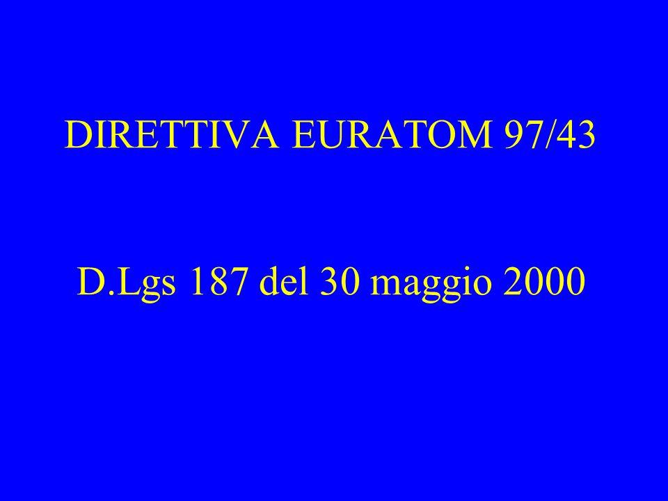 DIRETTIVA EURATOM 97/43 D.Lgs 187 del 30 maggio 2000