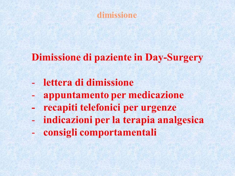Dimissione di paziente in Day-Surgery lettera di dimissione