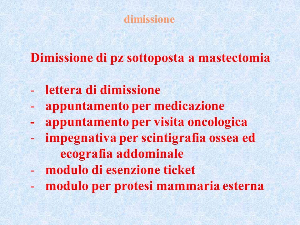 Dimissione di pz sottoposta a mastectomia lettera di dimissione