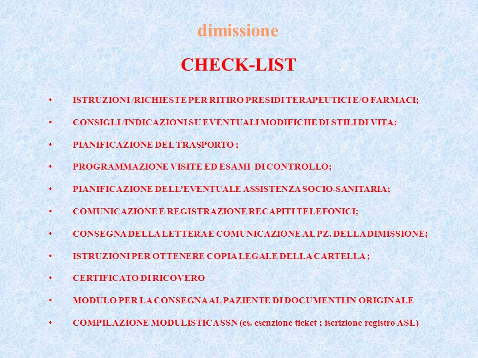 dimissione CHECK-LIST