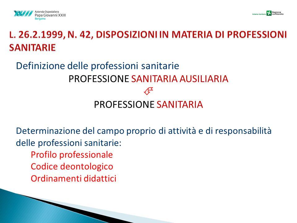 L. 26.2.1999, N. 42, DISPOSIZIONI IN MATERIA DI PROFESSIONI SANITARIE