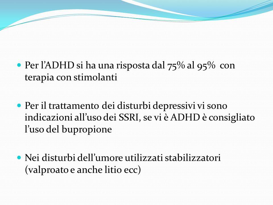 Per l'ADHD si ha una risposta dal 75% al 95% con terapia con stimolanti