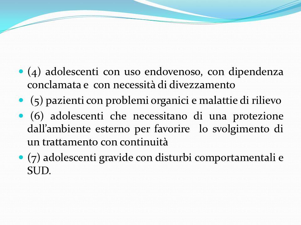 (4) adolescenti con uso endovenoso, con dipendenza conclamata e con necessità di divezzamento