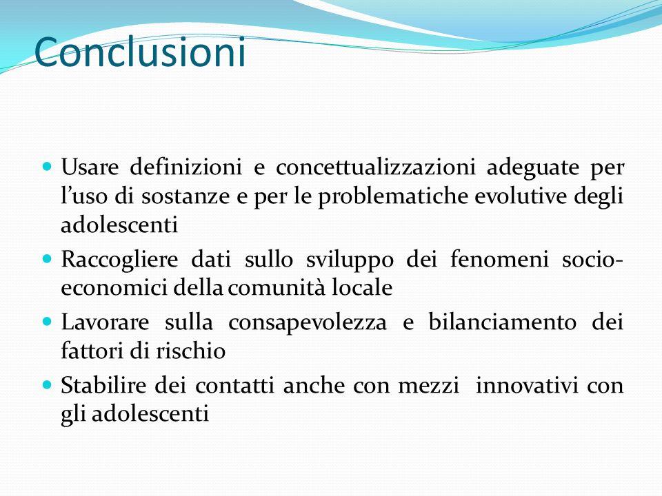 ConclusioniUsare definizioni e concettualizzazioni adeguate per l'uso di sostanze e per le problematiche evolutive degli adolescenti.