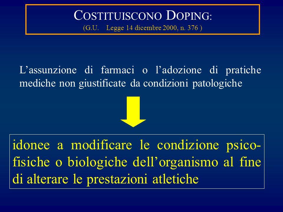COSTITUISCONO DOPING: