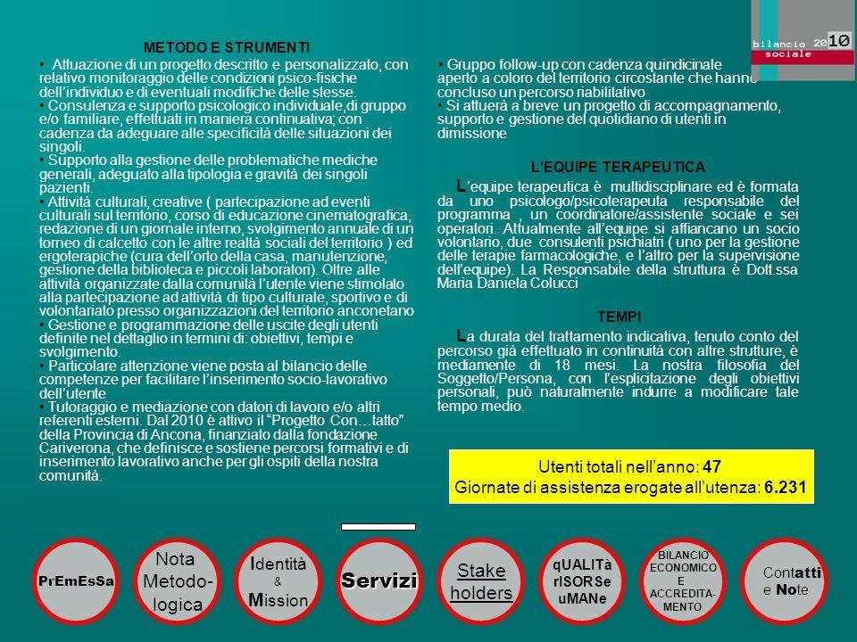Servizi Nota Identità Stake Metodo- holders logica Mission