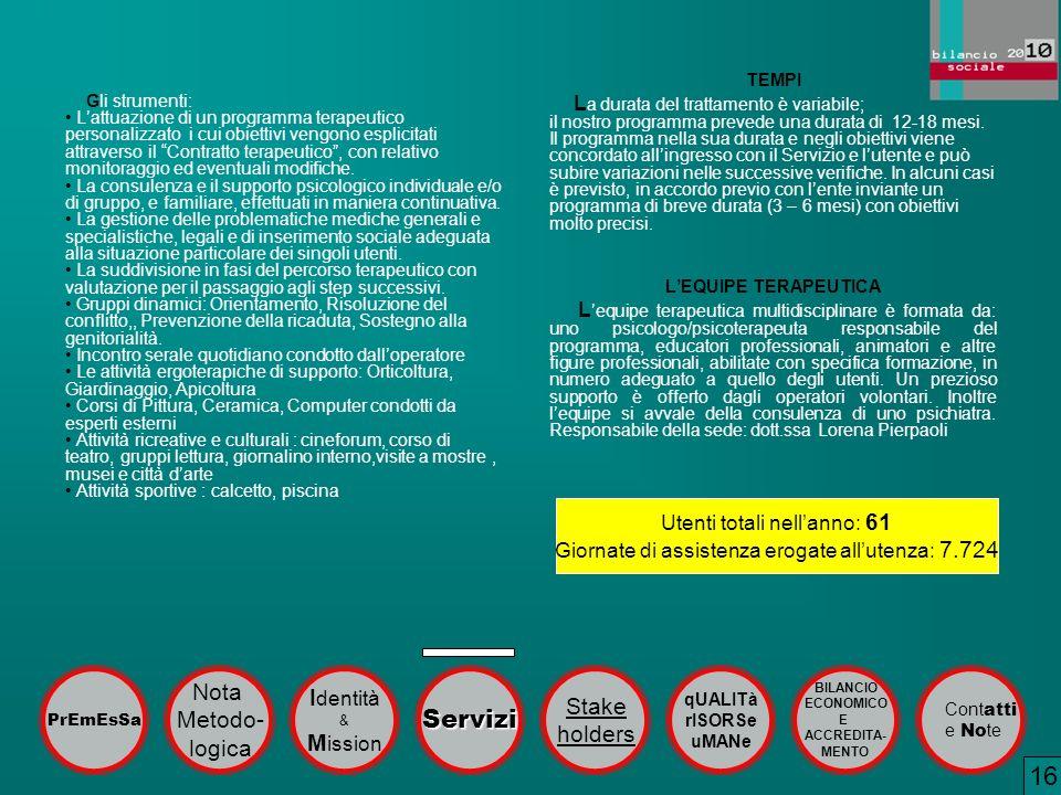16 Servizi Nota Identità Stake Metodo- holders logica Mission