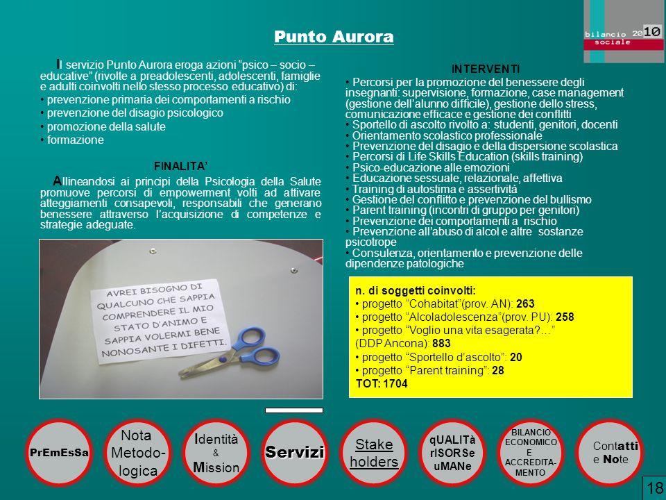 Punto Aurora 18 Servizi Nota Identità Stake Metodo- holders logica