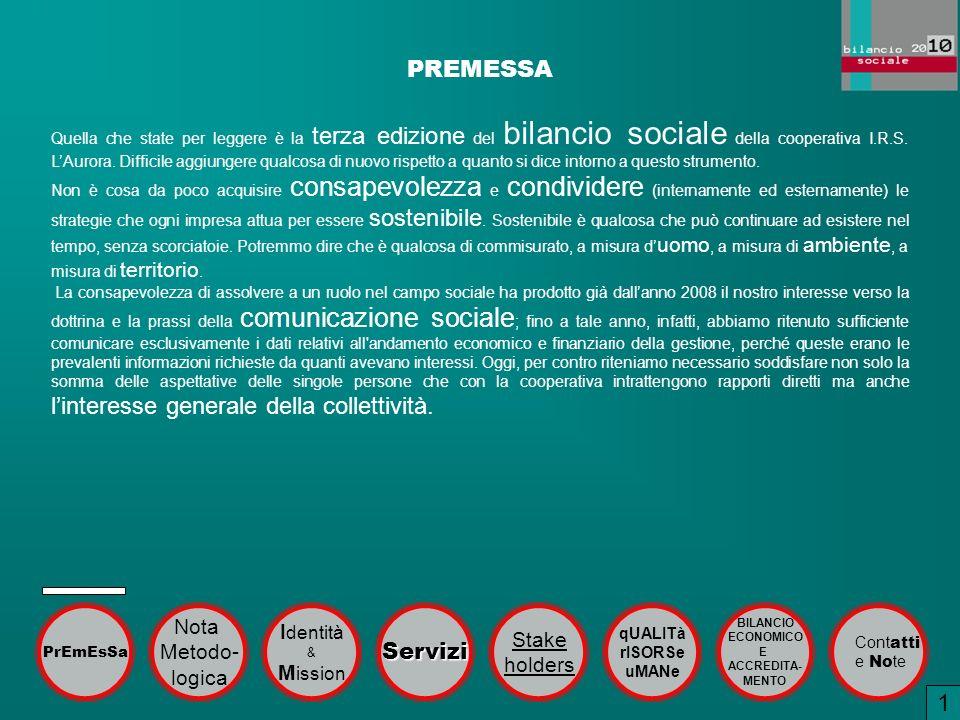 PREMESSA 1 Servizi Nota Identità Stake Metodo- holders logica Mission